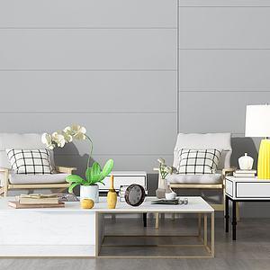 简约沙发茶几组合模型