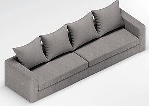 多人沙发模型3d模型