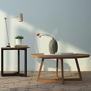 现代实木小茶几组合模型