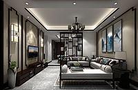 中式風格客廳餐廳3d模型
