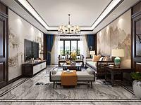 新中式客廳餐廳3d模型