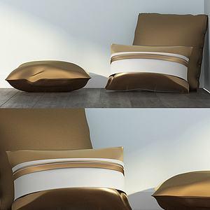 金色系抱枕组合模型3d模型