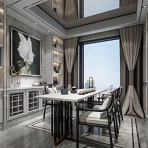 欧式餐厅餐桌椅模型3d模型