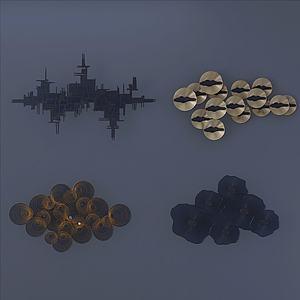 現代鐵藝墻飾組合3d模型