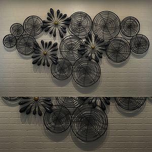現代金屬鐵藝花墻飾3d模型