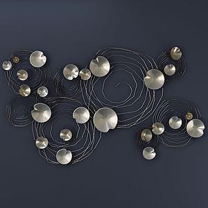 現代金屬荷葉墻飾飾品3d模型