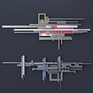 現代拼搭式墻飾3d模型