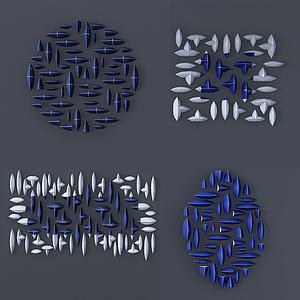 現代石頭裝飾畫墻飾3d模型