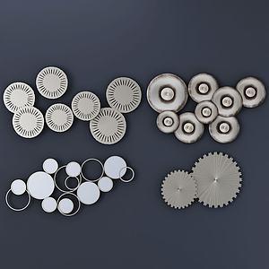 金屬圓片墻飾組合3d模型