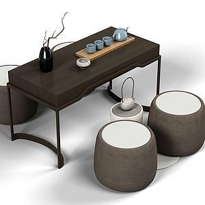 现代茶桌模型