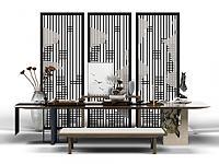 中式泡茶桌3d模型