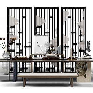 中式泡茶桌模型