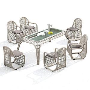 现代户外藤椅组合模型