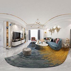 现代客厅餐厅全景模型
