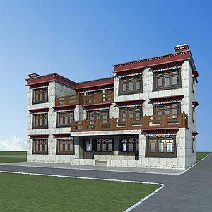 藏族別墅模型3d模型