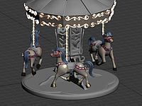 游樂場里的旋轉木馬3d模型