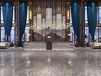 中式風格酒店大堂3d模型