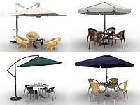 現代戶外遮陽傘桌椅組合3d模型
