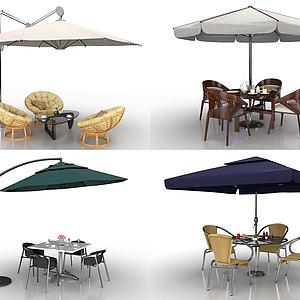现代户外遮阳伞桌椅组合模型