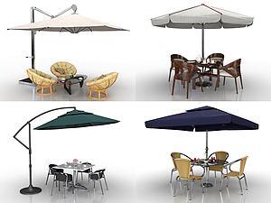 现代户外遮阳伞桌椅组合模型3d模型