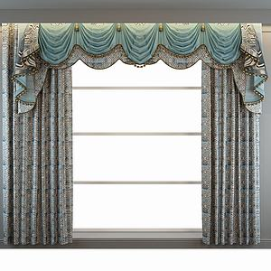 歐式窗簾窗幔模型