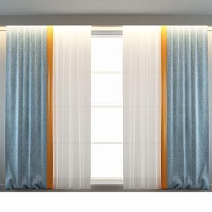 现代简约窗帘窗幔模型