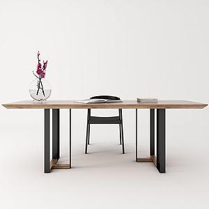 北歐餐桌會議桌長桌椅子模型3d模型