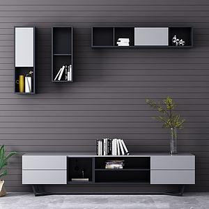 现代极简电视柜壁柜模型3d模型