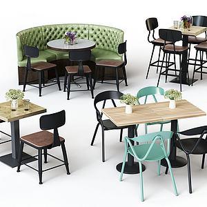 工业风休闲桌椅组合模型