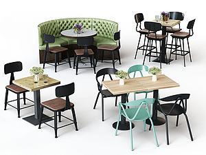 工业风休闲桌椅组合模型3d模型