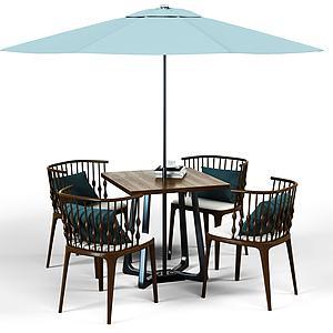 新中式休闲桌椅组合模型3d模型