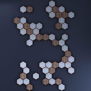 木質蜂巢幾何墻飾3d模型