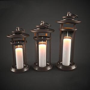 现代腊烛装饰灯模型