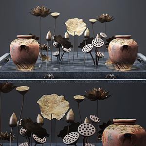 前臺大堂水池荷花陶罐裝飾3d模型