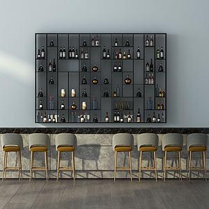 現代前臺式酒柜酒架3d模型