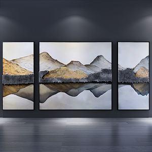 山水畫裝飾畫三聯組合3d模型