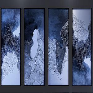 現代水墨畫四聯組合3d模型
