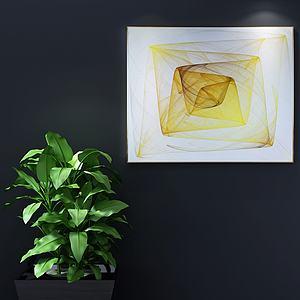 現代意象畫綠植組合3d模型