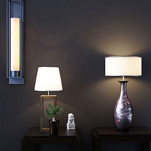新中式壁燈與臺燈組合3d模型