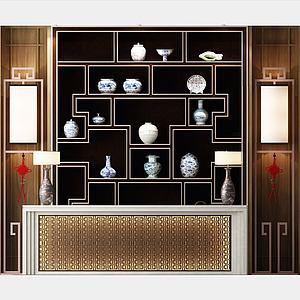 新中式古董展示柜架子3d模型
