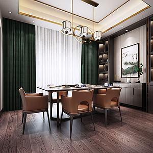 新中式客餐厅模型3d模型