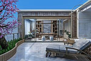 新中式花园阳台景观模型3d模型