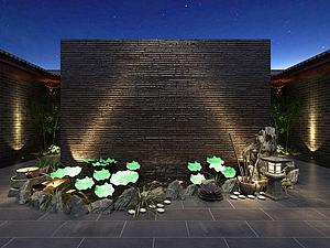 荷花裝飾水池模型3d模型
