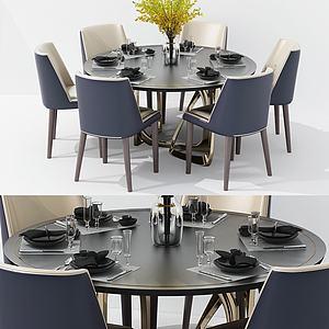 美式简约餐桌椅模型