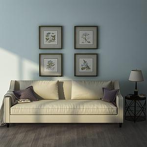现代沙发台灯组合模型