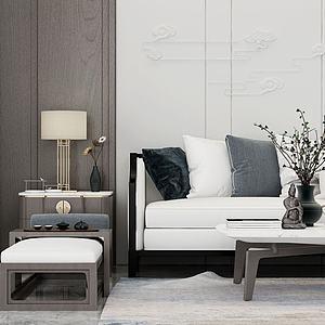 新中式沙发茶几模型