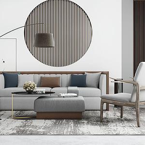简约沙发单椅落地灯组合模型