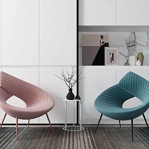 现代创意单椅组合模型
