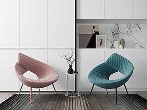 现代创意单椅组合模型3d模型