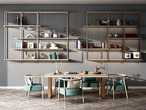 新中式茶桌椅组合模型3d模型